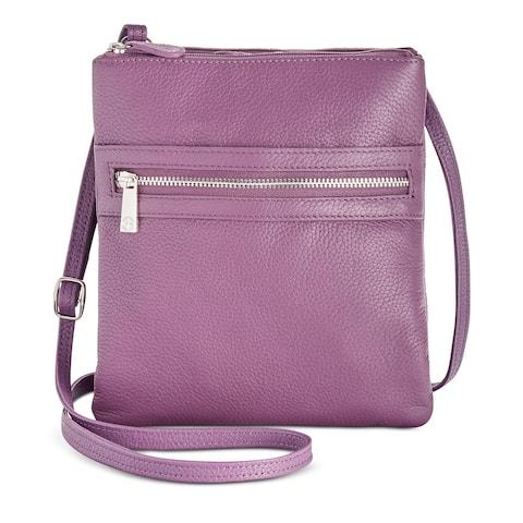 Giani Bernini Triple Zip Pebble Leather Dasher Crossbody Purple Gum Drop