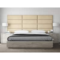 "VANT Upholstered Headboards - Accent Wall Panels - Packs Of 4 - Textured Cotton Weave Toasted Wheat - 39"" Wide x 11.5"" Height."