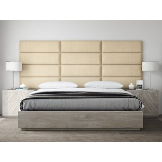 """VANT Upholstered Headboards - Accent Wall Panels - Packs Of 4 - Textured Cotton Weave Toasted Wheat - 39"""" Wide x 11.5"""" Height."""