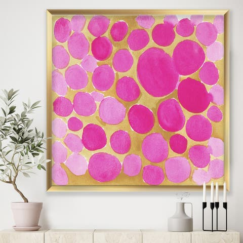 Designart 'Pink Pebbles' Mid-Century Modern Framed Art Print