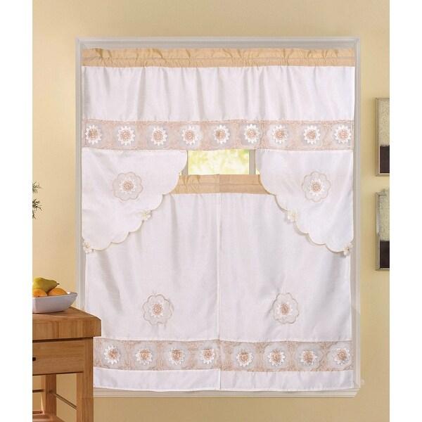 3 Piece Kitchen Window Curtain Set With Flower Embroidered: Shop Rosie 3-Piece Floral Embroidered Sheer Kitchen