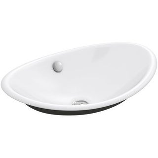 "Kohler K-5403-P5 Iron Plains 20-3/4""L Cast Iron Drop-In Semi-Vessel Sink with Overflow and Black Painted Underside (Option: Washed)"