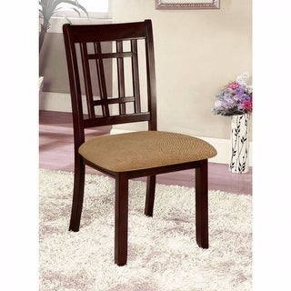 Transitional Side Chair, Dark Brown Finish, Set Of 2
