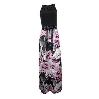 SLNY Women's Bow-Back Printed Halter Maxi Dress