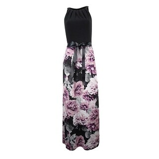 SLNY Women's Bow-Back Printed Halter Maxi Dress - Black/Pink - 10