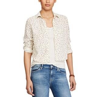 Denim Supply Ralph Lauren Floral Print Shirt Wind Chime Floral Cream Combo - l