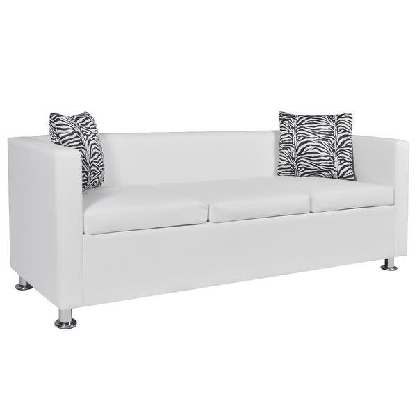 Enjoyable Shop Vidaxl Sofa 3 Seater W 2 Pillows Modern White Pabps2019 Chair Design Images Pabps2019Com