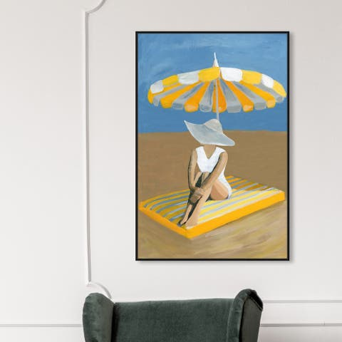 Oliver Gal 'Yellow Umbrella' Fashion and Glam Wall Art Framed Canvas Print Swimsuit - Yellow, Blue