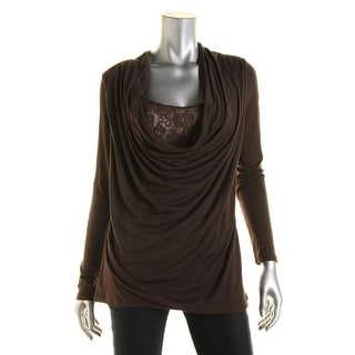 Lola & Sophie Womens Modal Blend Lace Overlay Pullover Top - L