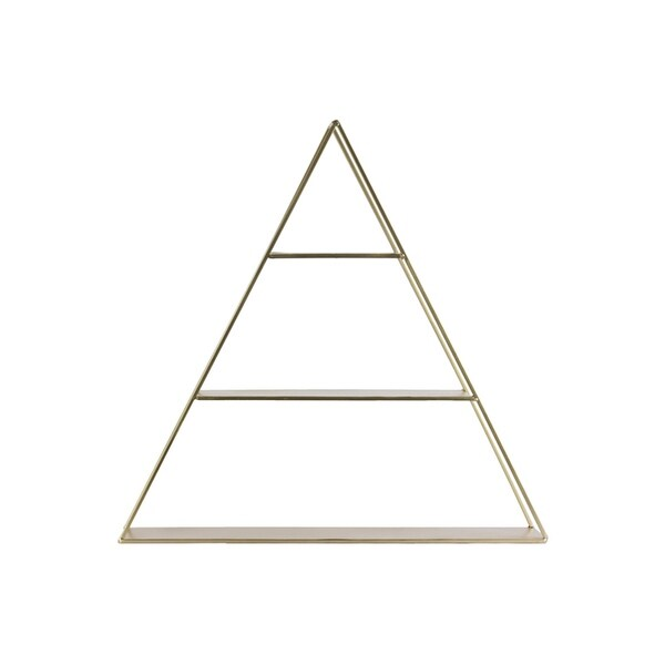 3 Tier Metal Wall Shelf In Triangular Shape, Champagne Silver