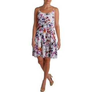 Aqua Womens Sleeveless Floral Print Sundress