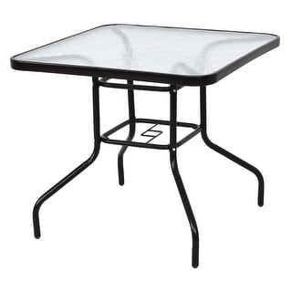 Costway 31 1/2'' Patio Square Table Steel Frame Dining Table Patio Furniture Glass Top