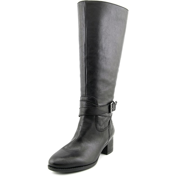 Nine West Vani Wide Calf Women Round Toe Leather Black Knee High Boot