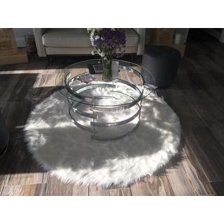 Safavieh Faux Sheepskin Ivory Japanese Acrylic Rug - 3' x 3' Round