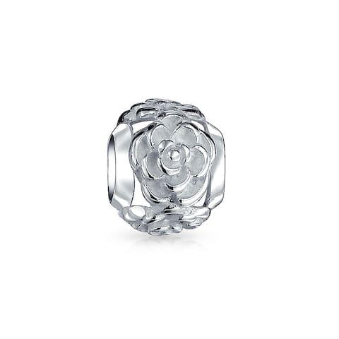 Garden Flower Rose Spacer Charm Bead 925 Sterling Silver