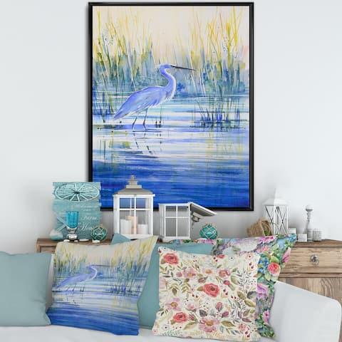 Designart 'Blue Heron on The Lake Shore At Sunset' Traditional Framed Canvas Wall Art Print