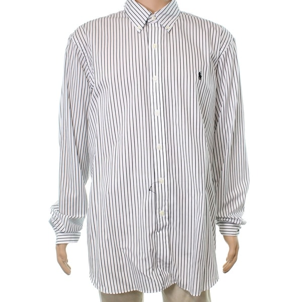 8be7286efd Shop Ralph Lauren White Mens Size XS Striped Button Down Stretch Shirt - Free  Shipping Today - Overstock.com - 22360907