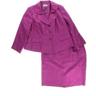 Le Suit Womens Plus Shimmer 2PC Skirt Suit