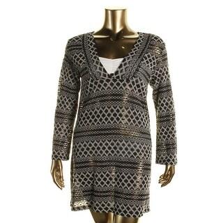 J Valdi Womens Textured Long Sleeves Dress Swim Cover-Up - S