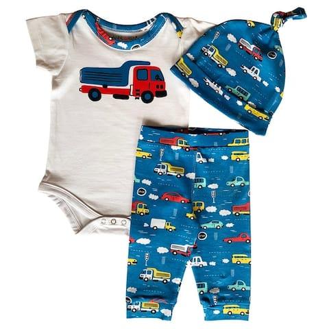 AnnLoren Baby Toddler Boys Cars Trucks Bodysuit Joggers Pants Cap 3pc Gift Set Clothing