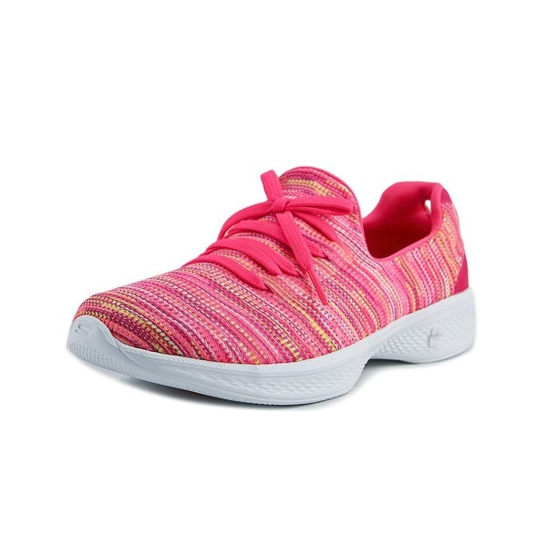Skechers Go Walk 4-Today Women Round Toe Canvas Pink Walking Shoe