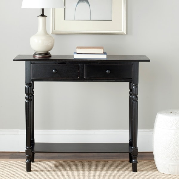 "Safavieh Cape Cod Black 2-drawer Console Table - 37.8"" x 13"" x 31.9"". Opens flyout."