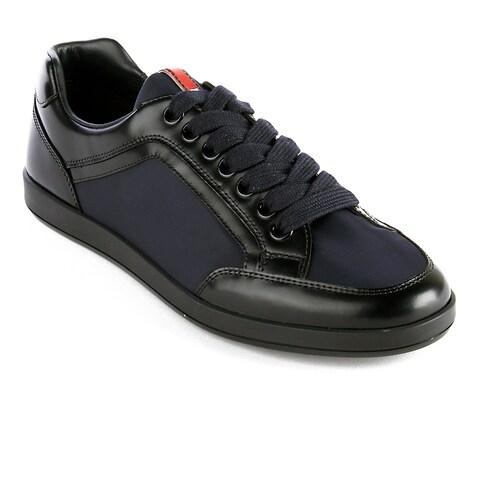 Prada Men's Leather Fabric Low Top Sneaker Shoes Black