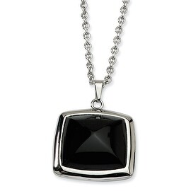 Chisel Stainless Steel Black Glass Square Pendant 18 Inch Necklace (2 mm) - 18 in