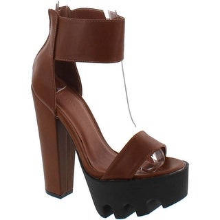 Wild Diva Vive-04 Peep Toe Dress Chunky Lug Platform Thick Heel Ankle Strap Sandal