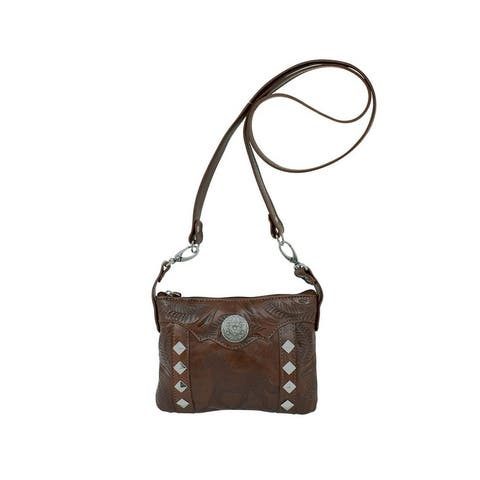 American West Western Handbag Hitch'N Post Trail Rider Brown - 8 x 6 x 1