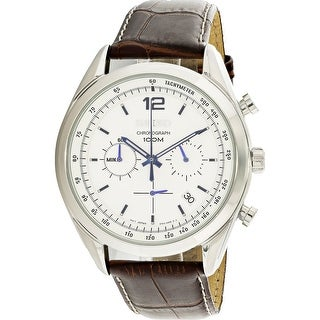Seiko Men's Chronograph Silver Calf Skin Japanese Fashion Watch