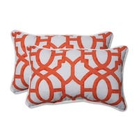 "Set of 2  Geo Amazing Orange Rectangular Throw Pillow 18.5"" - White"
