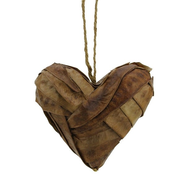 "5"" Modern Lodge Rattan Heart Shaped Christmas Ornament - brown"
