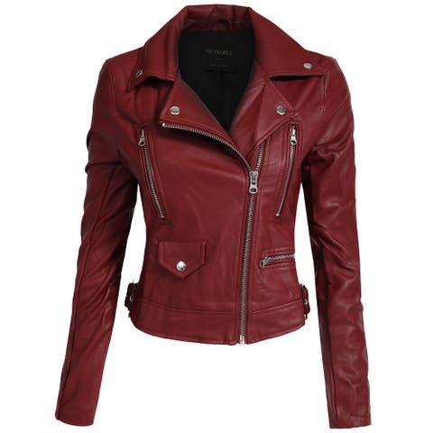 NE PEOPLE Women's Fitted Faux Leather Jacket [NEWJ138]