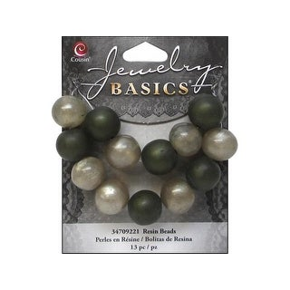 Cousin Bead Resin Round 14mm Green 13pc