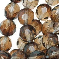 Czech Fire Polished Glass Two Toned Beads 6mm Round Brown Crystal (25)
