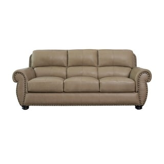 Link to Abbyson Aaron Beige Top Grain Leather Sofa Similar Items in Living Room Furniture