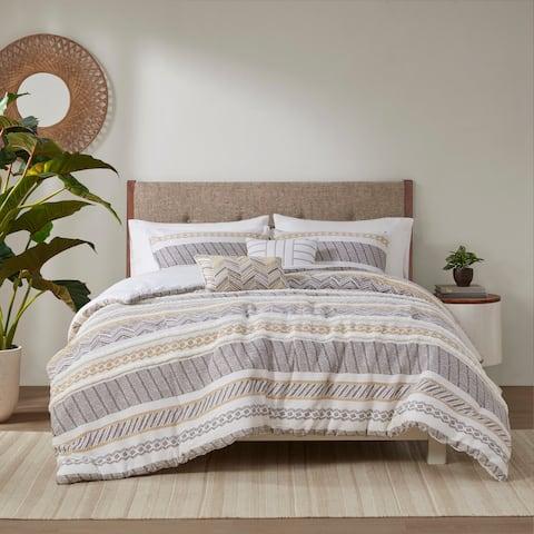 Madison Park Aella Yellow/ Charcoal 5 Piece Cotton Printed Comforter Set