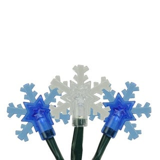 10 Battery Operated Blue and White LED Snowflake Christmas Lights - 3.8 ft Green Wire