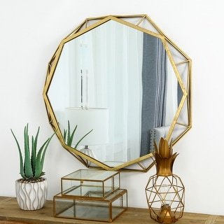 "Link to Glitzhome 28""D Deluxe Golden Octagonal Metal Glass Wall Mirror - 28"" Similar Items in Mirrors"