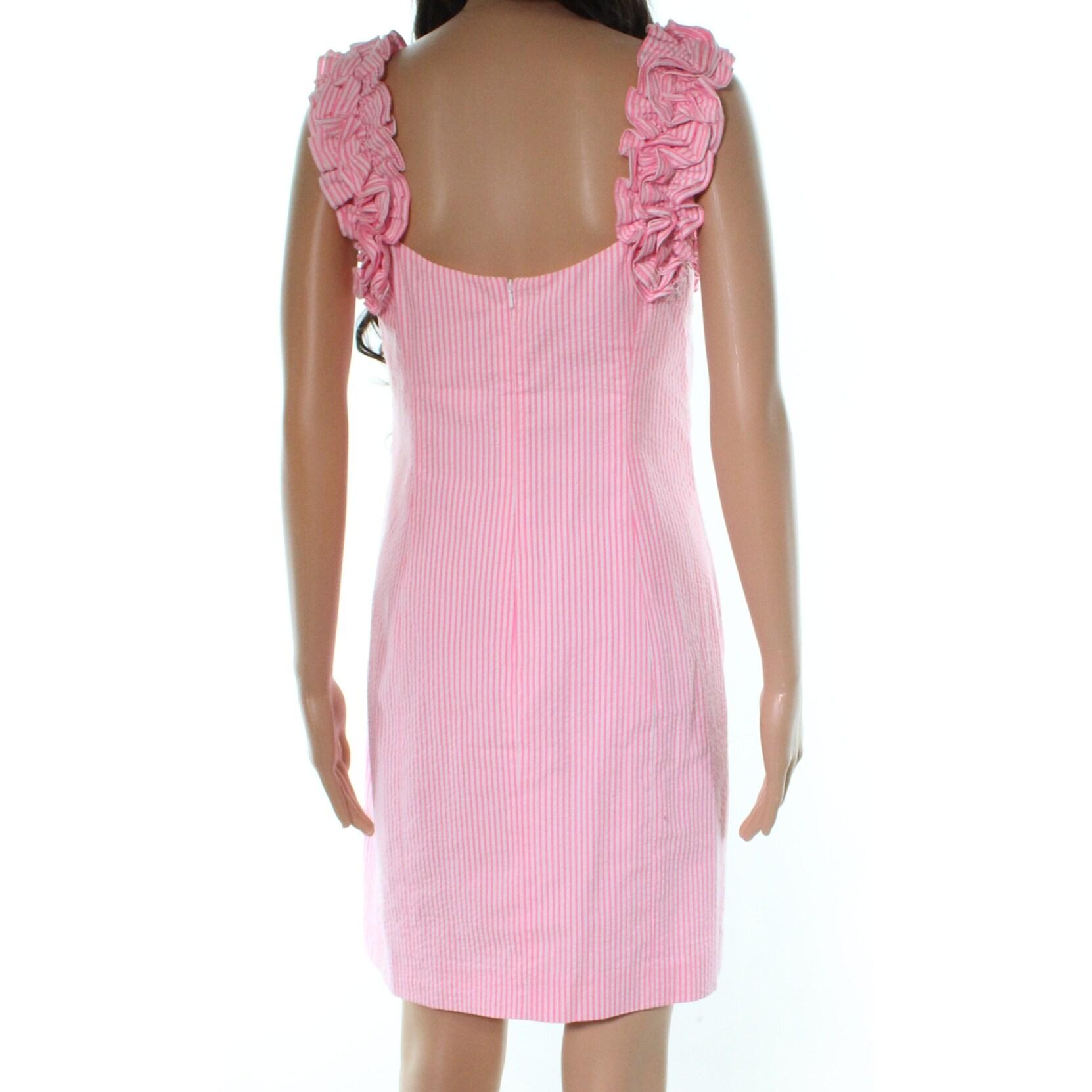 Shop Lilly Pulitzer Pink Seersucker Rosette Women S Size 4 Sheath