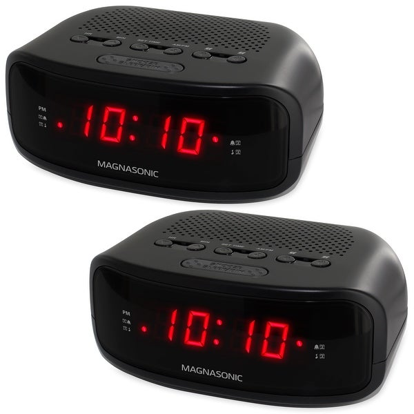 Magnasonic Digital AM/FM Clock Radio with Battery Backup, Dual Alarm, Sleep/Snooze Functions, Display Dimming - 2 Pack