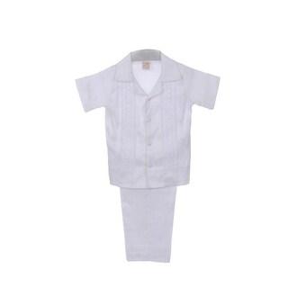Rain Kids Boys White Shantung Silk Guayavera Shirt Stole Pants Baptism Set 8