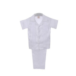 Rain Kids Little Boys White Shantung Silk Guayavera Shirt Stole Pants Baptism Set 2T-6