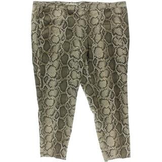 MICHAEL Michael Kors Womens Plus Snake Print Straight Leg Casual Pants - 24W