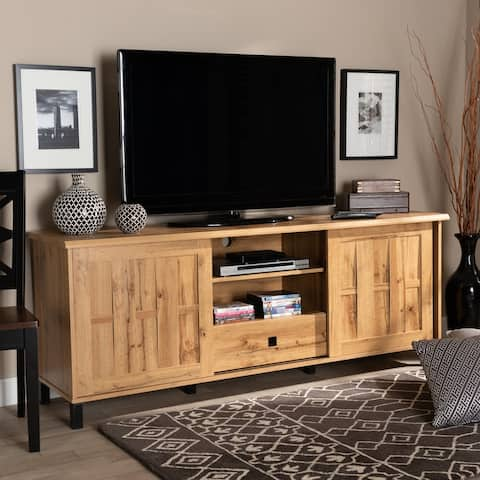 Unna Modern and Contemporary Oak Brown Finished Wood 2-Door TV Stand