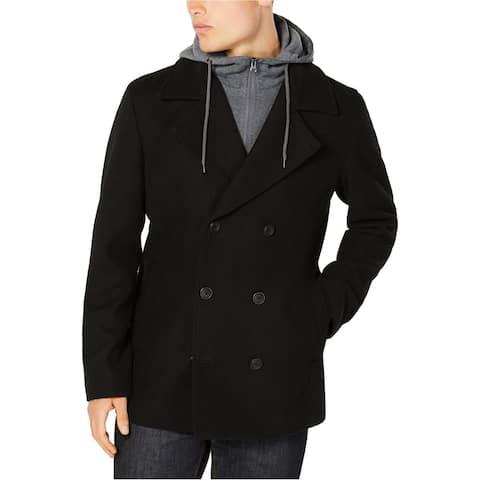 American Rag Mens Layered Look Pea Coat, Black, X-Large