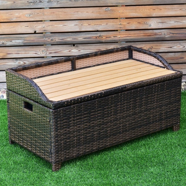 Shop Costway 50 Gallon Storage Bench Container Box Rattan Wicker