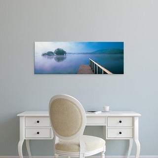 Easy Art Prints Panoramic Image 'Lake with mountains, Llangorse Lake, Brecon Beacons National Park, Wales' Canvas Art