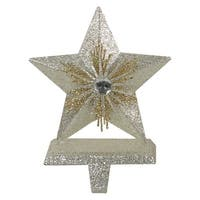 "8"" Silver and Gold 5 Point Star Christmas Stocking Holder"
